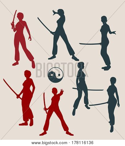 Kung Fu martial art silhouettes of woman in sword fight pose. Woman posing.