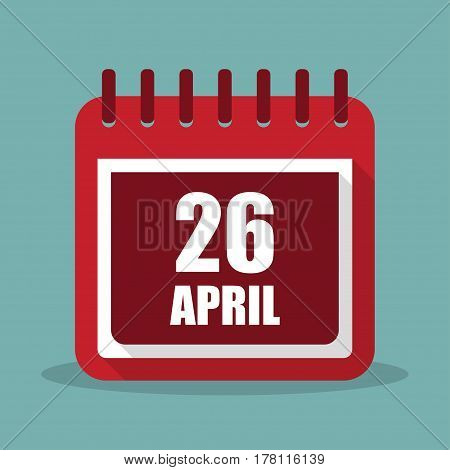 Calendar with 26 april in a flat design. Vector illustration