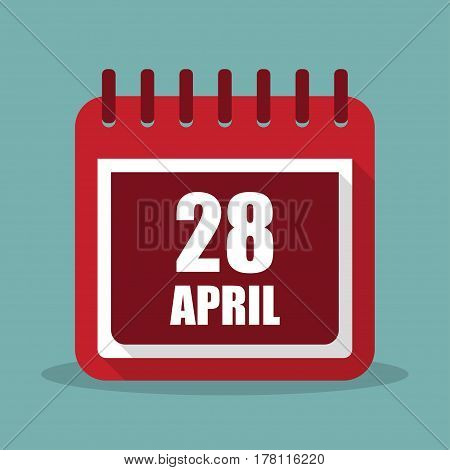 Calendar with 28 april in a flat design. Vector illustration