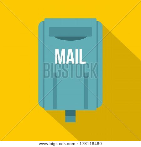 Blue square post box icon. Flat illustration of blue square post box vector icon for web isolated on yellow background