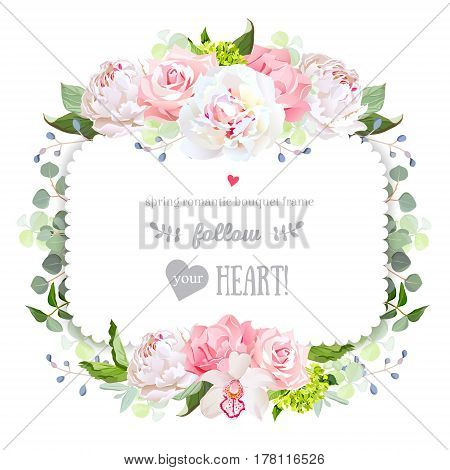 Delicate square vector frame with peony, rose, carnation, orchid, hydrangea and eucalyptus. White and pink flowers. Elegant wedding invitation design card. All elements are isolated and editable.