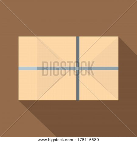 Parcel wrapped in paper and tied with twine icon. Flat illustration of parcel wrapped in paper and tied with twine vector icon for web isolated on coffee background
