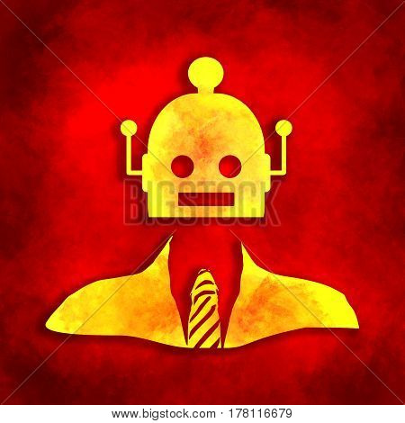 Businessman with cute vintage robot head. Robotics industry relative image. Grunge brush drawing