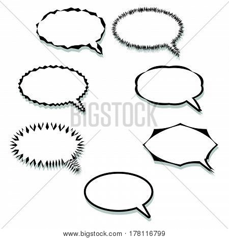 Pop art comic speech bubbles set word balloons isolated on white background.