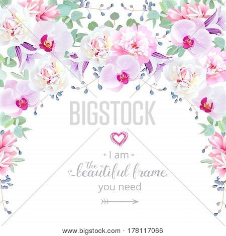 Semicircle garland frame with rose, peony, purple campanula, pink succulents, orchid, green plants and blue berries. Cute wedding floral vector design. All elements are isolated and editable.