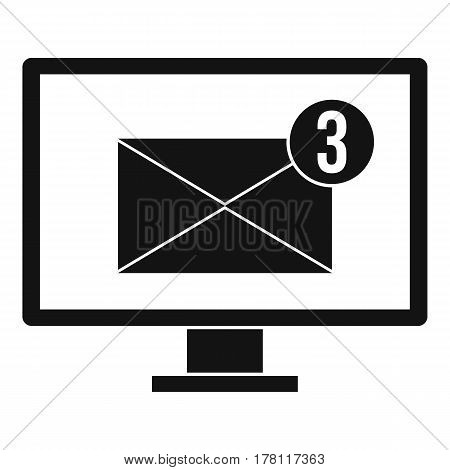 Monitor screen with email sign icon. Simple illustration of monitor screen with email sign vector icon for web