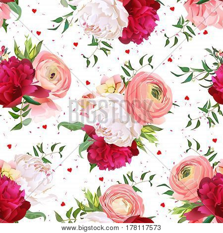 Burgundy red and white peonies, ranunculus, rose seamless vector pattern. Romantic chic print with hearts and speckled backdrop.