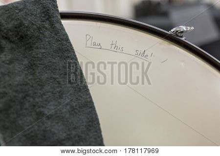 instructions hand written on the side of a drum