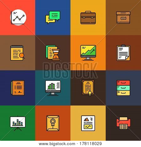 Simple Business and Finance Cartoon Style Icon Set