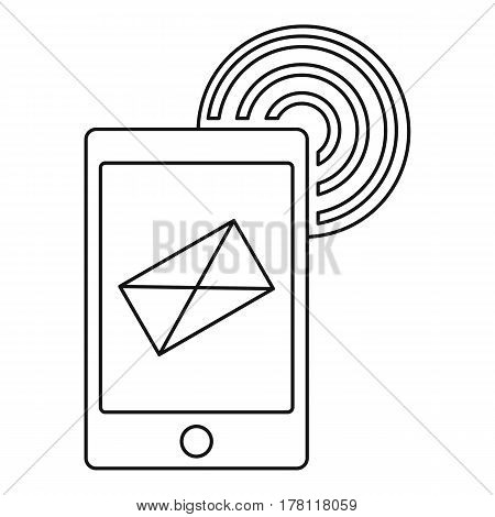 Send an email by phone icon. Outline illustration of send an email by phone vector icon for web