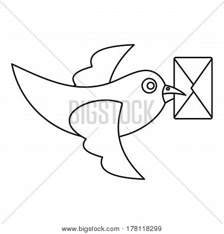 Pigeon bird flying with envelope icon. Outline illustration of pigeon bird flying with envelope vector icon for web