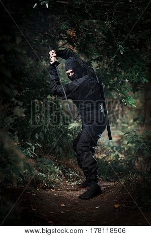 Ninja silent killer waits in ambush in forest undergrowth poster