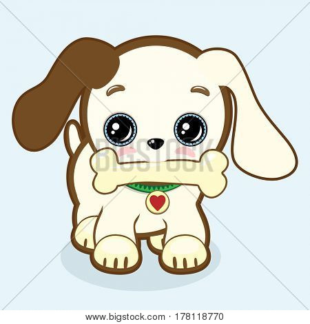 Cute puppy with expressive eyes and big ears holds a bone in his mouth. Little dog icon. Vet or pet shop symbol; 2018 year. Simple cartoon illustration.