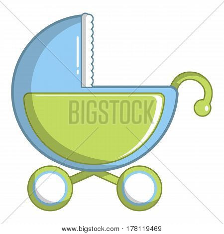 Toy baby carriage icon. Cartoon illustration of toy baby carriage vector icon for web