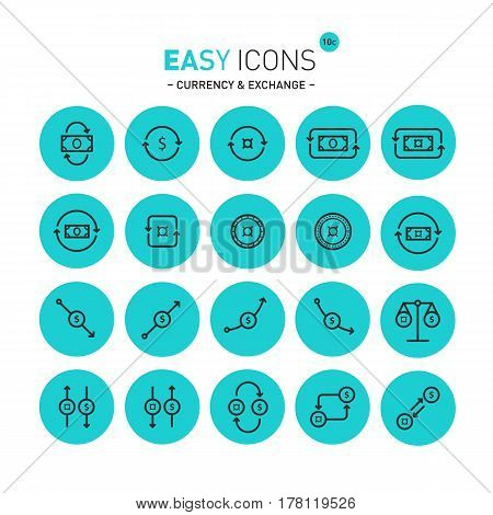 Vector thin line flat design icons set for money, exchange and currency themes