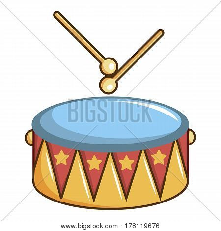 Colorful drum and drumsticks icon. Cartoon illustration of colorful drum and drumsticks vector icon for web