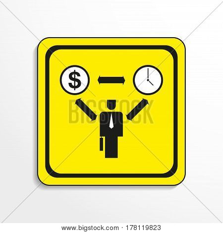 Working time. Vector icon. Black-and-white object on a yellow background.