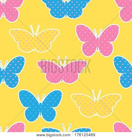 Seamless pattern with colorful butterflies silhouettes on yellow background. Butterflies in polka dots