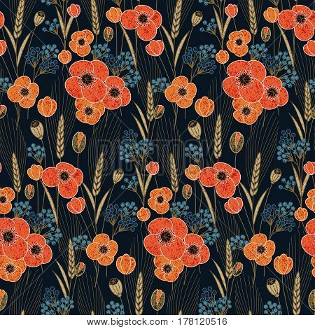 seamless vector colorful pattern with retro poppy and field flowers