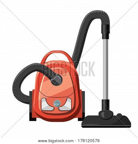 Red vacuum cleaner icon. Cartoon illustration of red vacuum cleaner vector icon for web