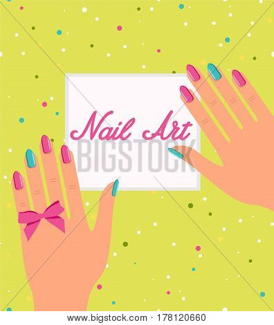 Woman hand with colorful fingernails. Gift certificate for a nail salon