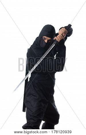 Ninja With Sword In Hands On White