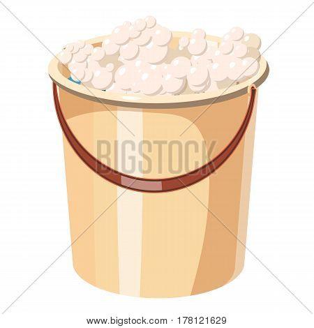 Bucket with foamy water icon. Cartoon illustration of bucket with foamy water vector icon for web