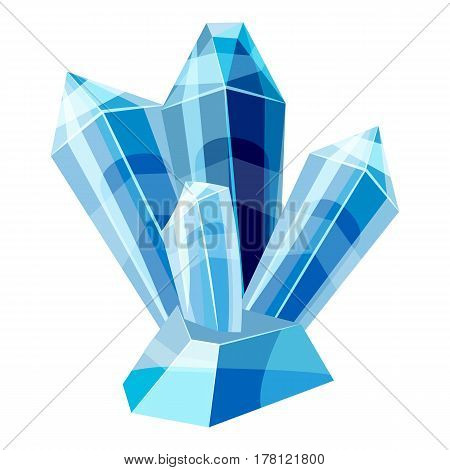 Blue crystals icon. Cartoon illustration of blue crystals vector icon for web