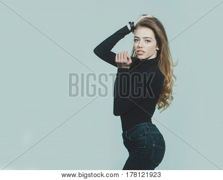Pretty Sexy Woman Or Girl With Long Blonde Curly Hair