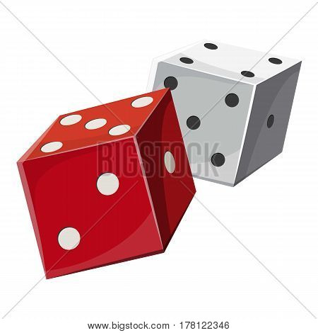 Red and white dice cubes icon. Cartoon illustration of red and white dice cubes vector icon for web