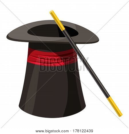 Magic hat and wand icon. Cartoon illustration of magic hat and wand vector icon for web