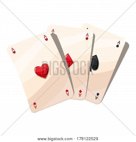 Three aces playing cards icon. Cartoon illustration of three aces playing cards vector icon for web