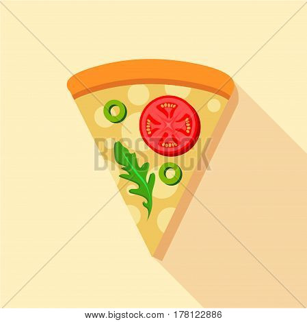 Vegetarian pizza tomatoes and basil icon. Flat illustration of vegetarian pizza tomatoes and basil vector icon for web