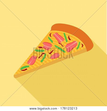 Pizza with peppers and bacon icon. Flat illustration of pizza with peppers and bacon vector icon for web