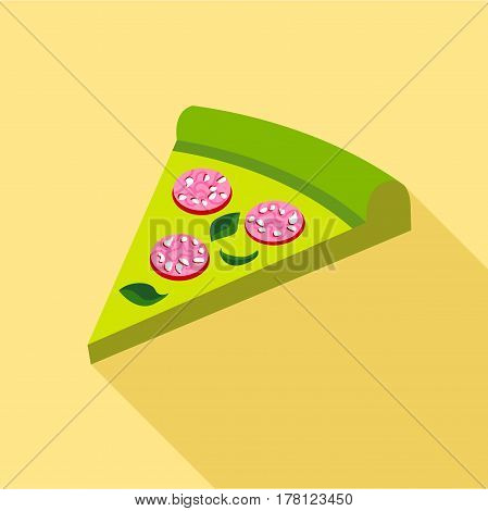 Green pizza with greens and sausage icon. Flat illustration of green pizza with greens and sausage vector icon for web