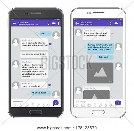 Vector mobile phone chat interface. Messenger app, sms service design with speech bubbles for short messages.