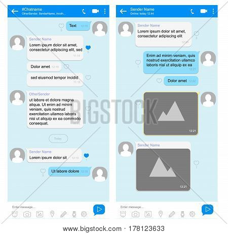 Mobile phone chat interface with speech bubbles for short messages. Vector design template