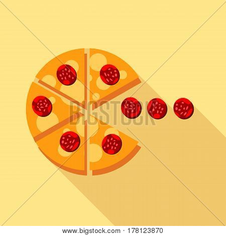 Salami pizza slice icon. Flat illustration of salami pizza slice vector icon for web