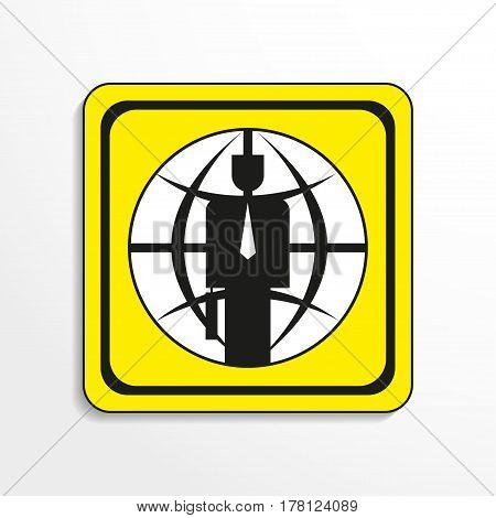 The global financial leader. Vector icon. Black-and-white object on a yellow background.