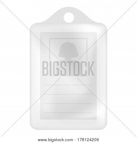 Identification white blank plastic id card mockup. Realistic illustration of identification white blank plastic id card vector mockup for web