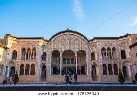Kashan, Iran - Circa February 2016 - The external view of the historic Borujerdi House in Kashan,Iran