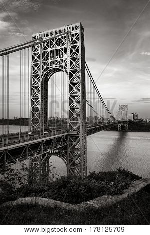 George Washington Bridge and Hudson River at dusk in Black & White. Fort Lee, New Jersey and Upper Manhattan, New York City.