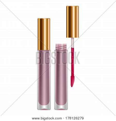 Purple lip gloss mockup. Realistic illustration of purple lip gloss vector mockup for web