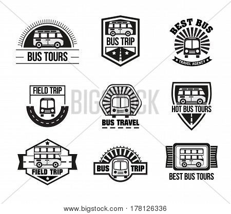 Bus trip and travel tour badge logo collection for traffic service tourism, black emblem set, vector flat style illustration isolated on white background, different shapes