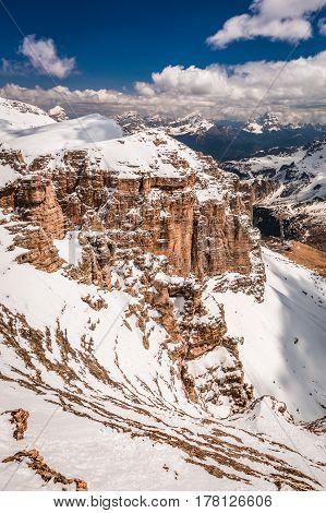 Wonderful View From Summit Of Sass Pordoi, Dolomites, Italy, Europe