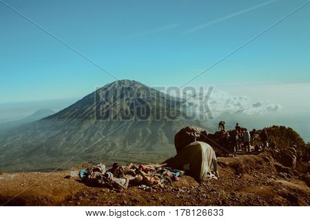 Camping ground at Mt Merapi, Central Java Indonesia