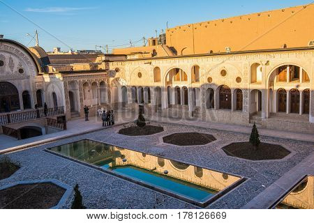 Kashan, Iran - Circa February 2016 - The courtyard view of the historic Borujerdi House in Kashan,Iran
