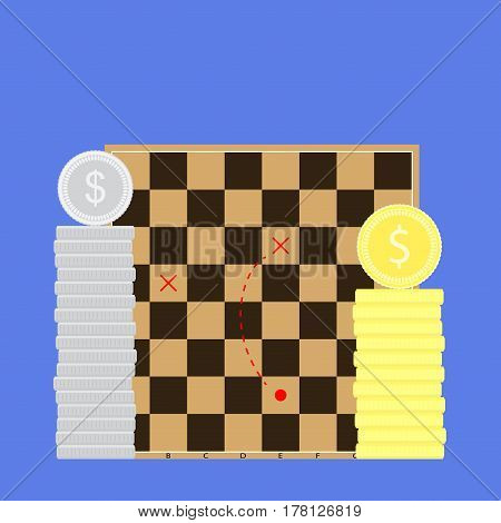 Finance tactic business. Scheme of method on chessboard organize vision vector illustration