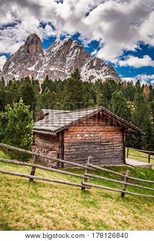 Beautiful View Of Cottage In Dolomites, Italy, Europe