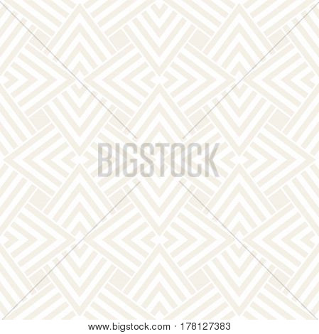Subtle Geometric Ornament With Striped Interlacing Rhombuses. Vector Seamless Monochrome Pattern. Modern Stylish Texture.